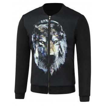 Stand Collar Lion 3D Printing Zip Up Jacket