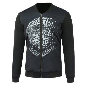 Zip Up Stand Collar Dotted Graphic Jacket