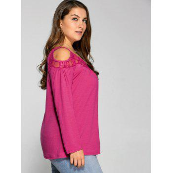 Long Sleeve Lace Splicing Cold Shoulder T Shirt - XL XL