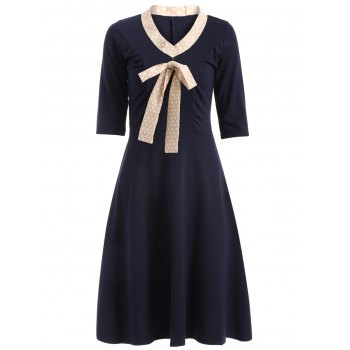 Half Sleeve Bowknot Vintage Dress - 2XL 2XL