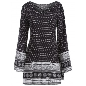 Long Sleeve Strappy Print Dress
