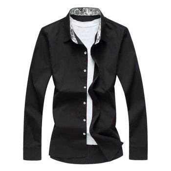 Floral Printed Collar Long Sleeve Shirt - BLACK BLACK