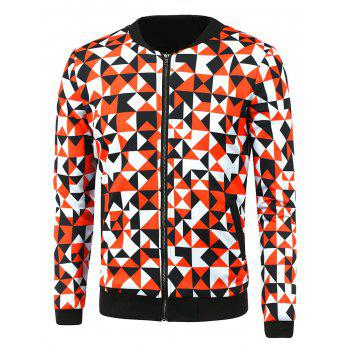 Buy Triangle Print Zip-Up Jacket RED