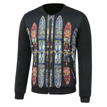 Stand Collar Church Glass Printed Jacket