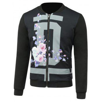 Stand Collar 3D Floral Print Jacket