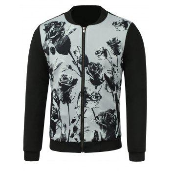 Stand Collar Jacket with Rose Print
