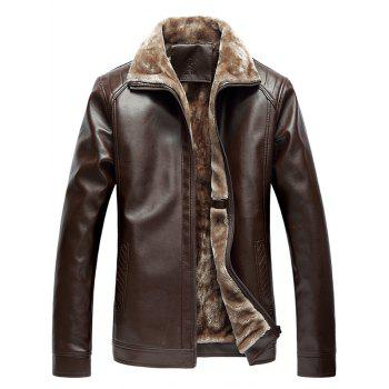 Faux Fur Collar Zip-Up PU Biker Jacket