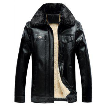 Faux Fur Collar Pocket Design PU Jacket