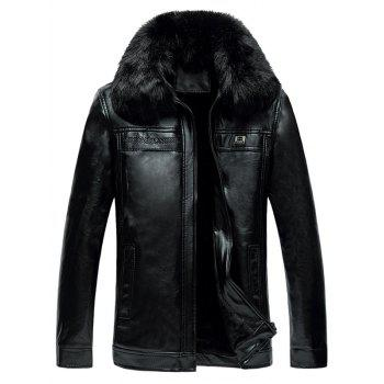 Zipper-Up Faux Fur Collar Thermal PU Jacket
