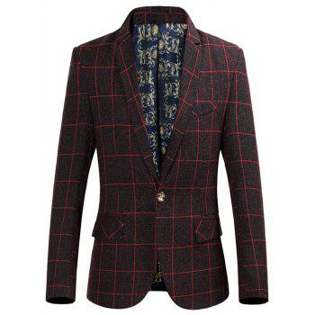 Slim-Fit Lapel Collar Single Breasted Grid Blazer
