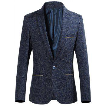 Lapel Collar Zip Pocket Heather Blazer