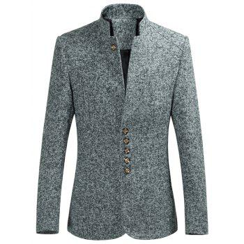 Slim-Fit Stand Collar Multi Button Heather Blazer
