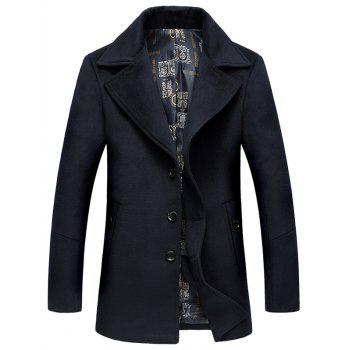 Single Breasted Lapel Collar Wool Blend Coat