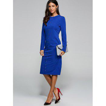 Button Up Jersey Jumper Midi Work Dress