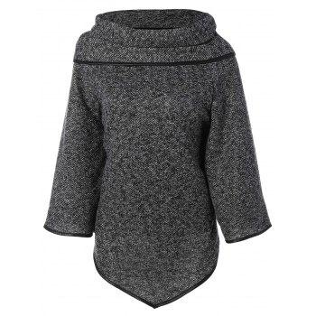 High Neck Asymmetrical Knitted Sweater