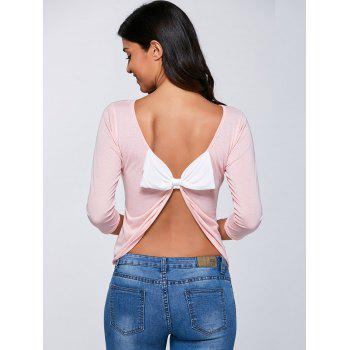 Open Back  Bow Long Sleeve T-Shirt