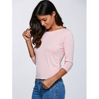 Open Back  Bow Long Sleeve T-Shirt - PINK S