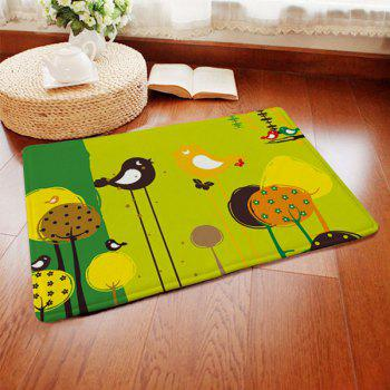 Short Plush Anti-slip Absorbent Cartoon Birds Pattern Doormat Carpet - COLORMIX COLORMIX