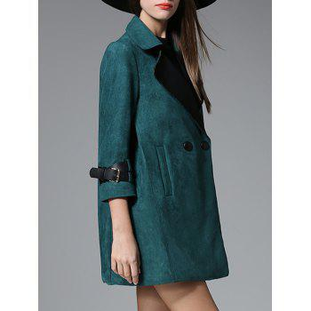 Lapel Pocket Design Suede Coat - GREEN 2XL