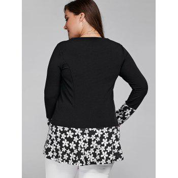 Splicing Floral Plus Size T Shirt - BLACK 3XL