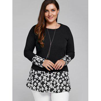 Splicing Floral Plus Size T Shirt - 2XL 2XL