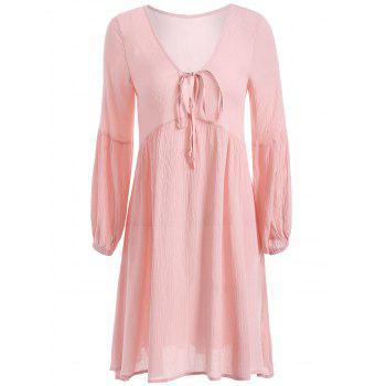 String Puff Sleeve Plunging Neck Short Dress with Sleeves