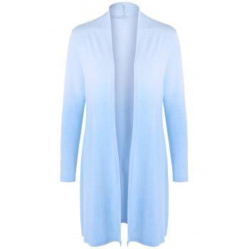 Collarless Ombre Open Front Coat