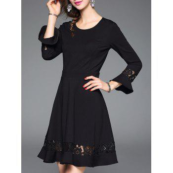 Bell Sleeve Lace Insert Slimming Dress