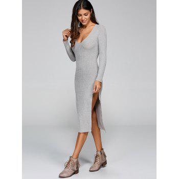 Low Cut Midi Slit Knit Dress with Sleeves