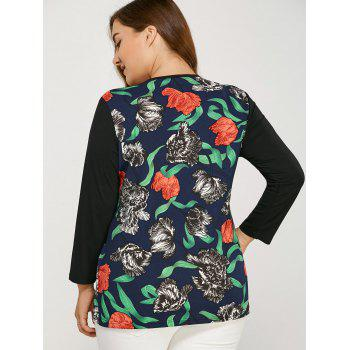 Long Sleeve Plus Size Floral Print Tee - BLACK BLACK