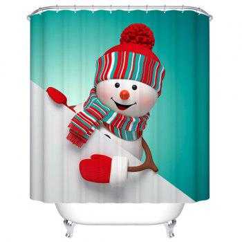 Waterproof Mouldproof Snow Man Printed Shower Curtain