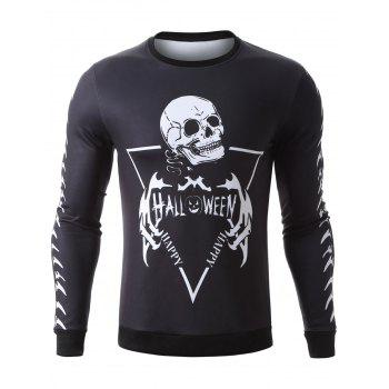Pullover Halloween Skeleton Print Graphic Sweatshirts