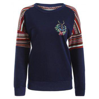 Crew Neck Ethnic Print Sweatshirt