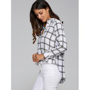 Long Sleeve High Low Plaid Shirt