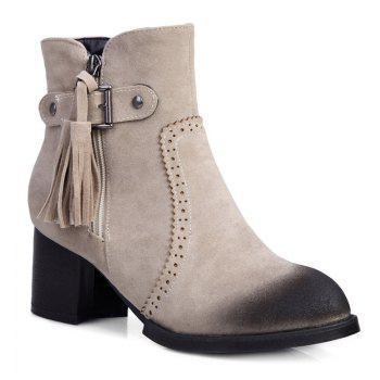 Retro Tassel Engraving Chunky Heel Boots