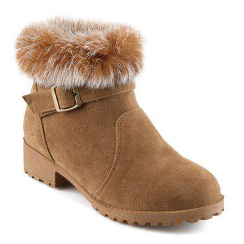 Buckle Suede Faux Fur Short Boots