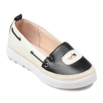 PU Leather Metal Colour Block Flat Shoes