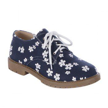 Tie Up Canvas Floral Print Flat Shoes - DEEP BLUE 39
