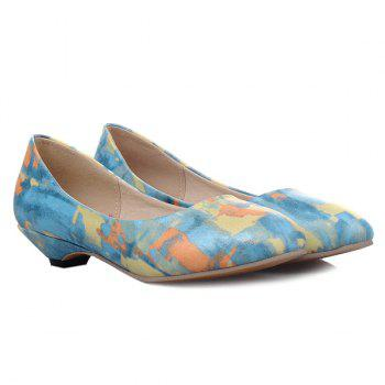 Round Toe PU Leather Flat Shoes - BLUE 40