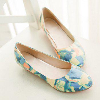 Round Toe PU Leather Flat Shoes - 40 40