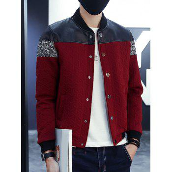 PU Leather Splicing Strand Collar Long Sleeve Jacket