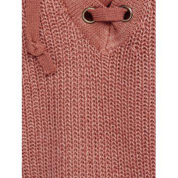 Warm Baseball Bandage Asymmetric Sweater - SALMON ORANGE ONE SIZE