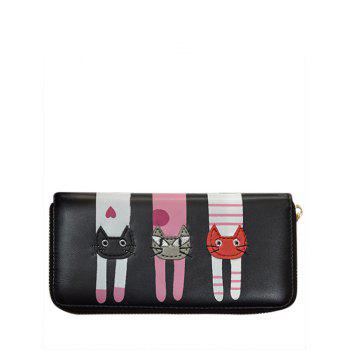 PU Leather Colour Spliced Cat Pattern Wallet - BLACK BLACK