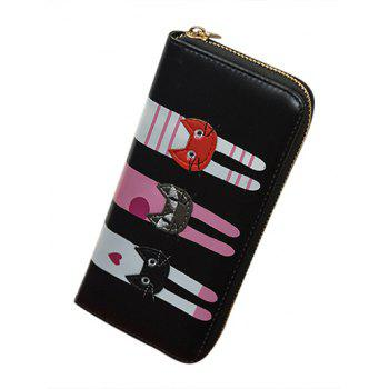 PU Leather Colour Spliced Cat Pattern Wallet -  BLACK
