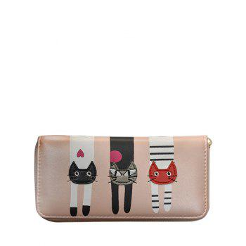 PU Leather Colour Spliced Cat Pattern Wallet