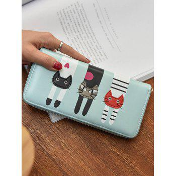 PU Leather Colour Spliced Cat Pattern Wallet -  LIGHT BLUE