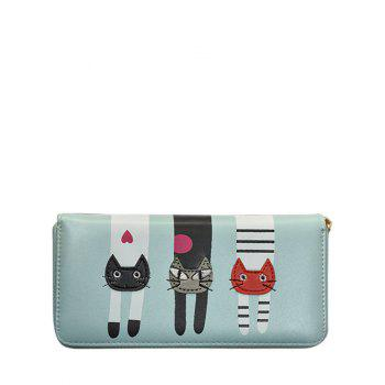 PU Leather Colour Spliced Cat Pattern Wallet - LIGHT BLUE LIGHT BLUE