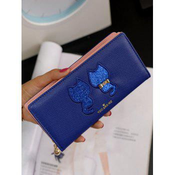 Cat Pattern Tassels Sequins Wallet -  BLUE