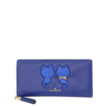 Cat Pattern Tassels Sequins Wallet - BLUE BLUE