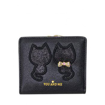 Sequins Bow Animal Pattern Wallet - BLACK BLACK